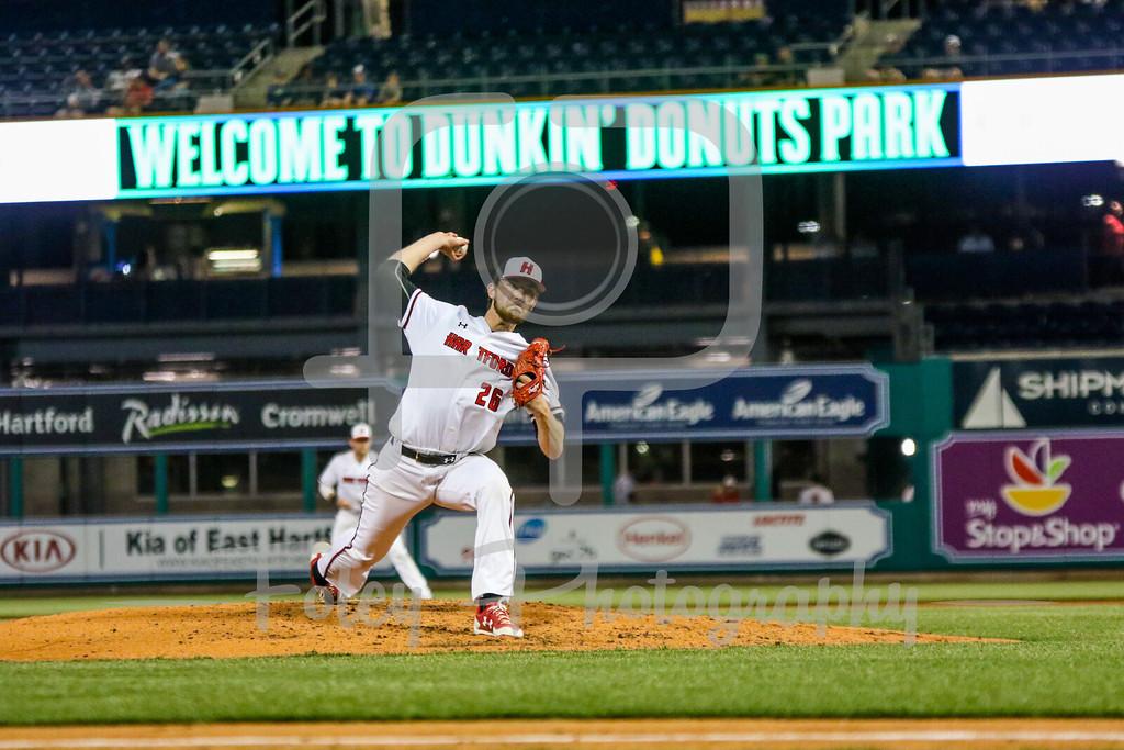 Hartford pitcher Alex Moconyi (26)