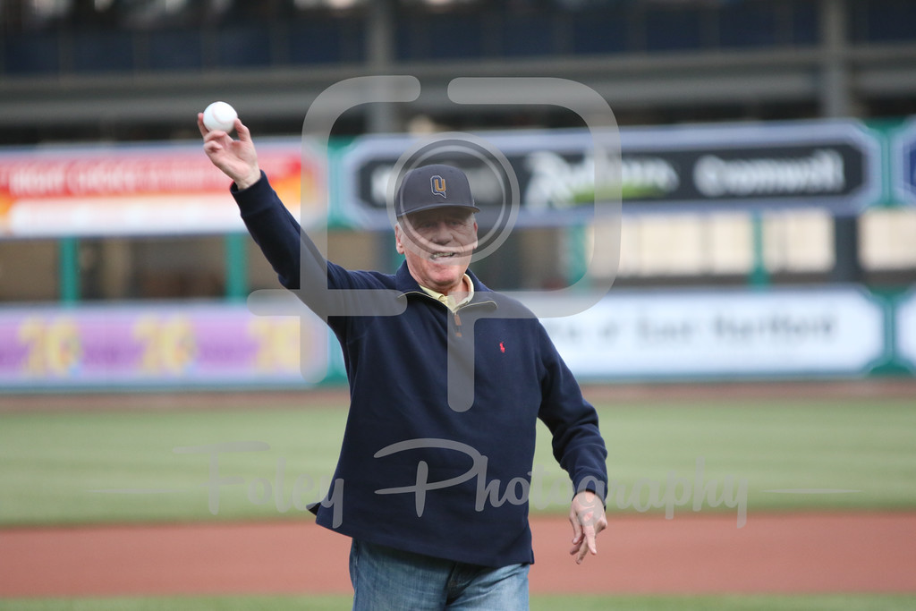 Dan Gooley throws a ceremonial first pitch