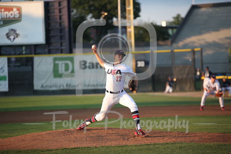 7/11/17, Hanover Insurance Park at Fitton Field Worcester, MA: USA Collegiate National Team Jake Irvin (17) of Oklahoma during the USA Collegiate Team's 6-4 victory over the Futures League Prospects Team at Hanover Insurance Park at Fitton Field.