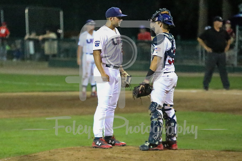 USA Collegiate National Team Dallas Woolfork (26) USA Collegiate National Team catcher Grant Koch (33)
