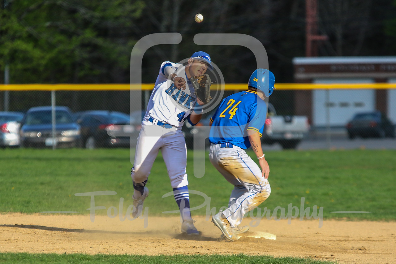 Becker College Hawks second baseman Michael Bianco (44) Worcester State Lancers catcher Brian Bonacquisti (24)
