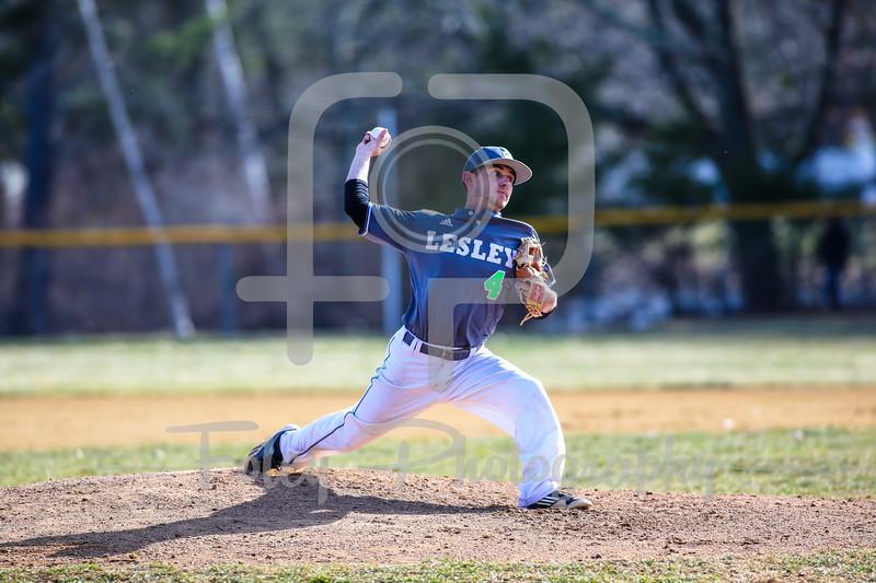 Lesley College Lynx pitcher Nick DeGrenier (40)