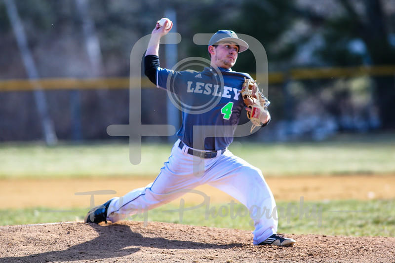 Lesley College Lynx pitcher Nick DeGrenier (40)