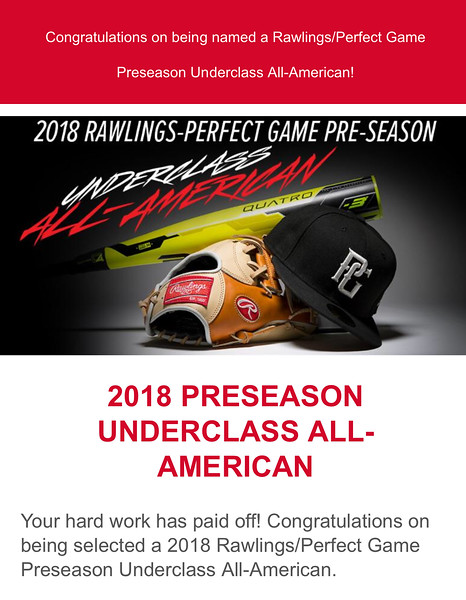 Rawlings-Perfect Game 2018 Preseason Underclass All-American