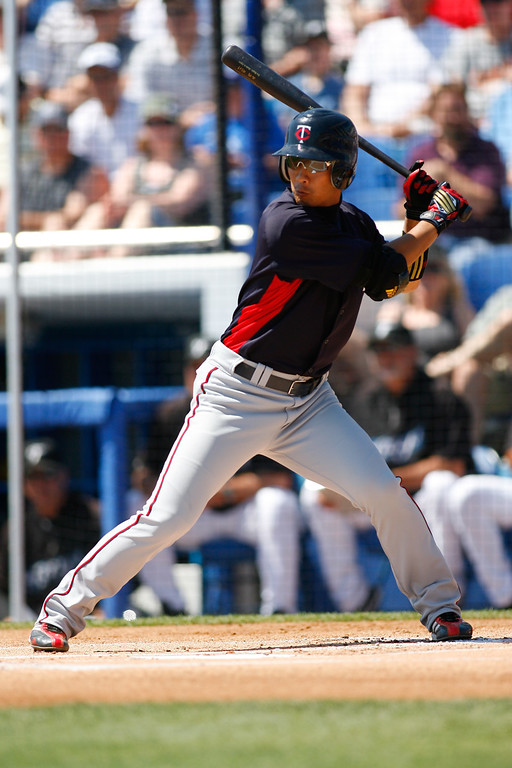 Minnesota Twins second baseman Tsuyoshi Nishioka (1) at bat during a Grapefruit League Spring Training Game at the Florida Auto Exchange Stadium.