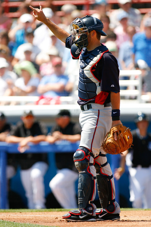 Minnesota Twins catcher Drew Butera (41) during a Grapefruit League Spring Training Game at the Florida Auto Exchange Stadium.
