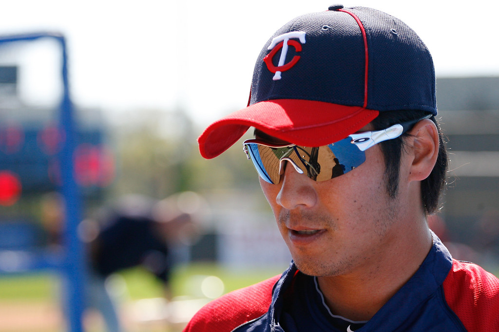Minnesota Twins second baseman Tsuyoshi Nishioka (1) prior to a Grapefruit League Spring Training Game at the Florida Auto Exchange Stadium.
