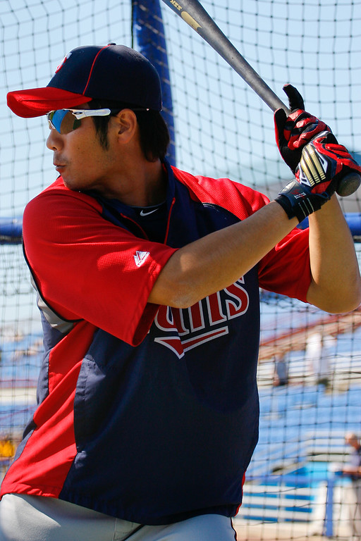 Minnesota Twins second baseman Tsuyoshi Nishioka (1) during batting practice prior to a Grapefruit League Spring Training Game at the Florida Auto Exchange Stadium.