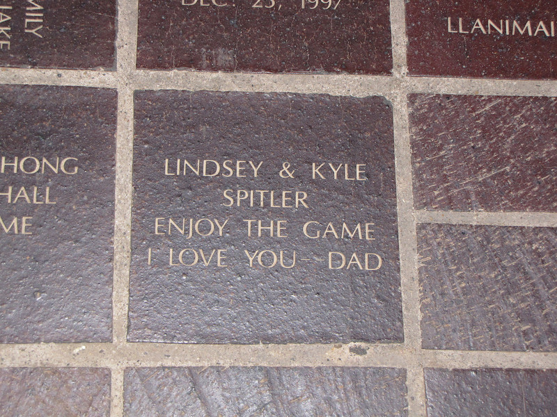 The brick I purchased that is on the sidewalk in front of the stadium.
