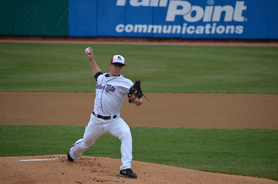 NH Fishercats vs. Binghamton Mets at Northeast Delta Dental Stadium (Apr 20,2013). Marcus Walden pitching.