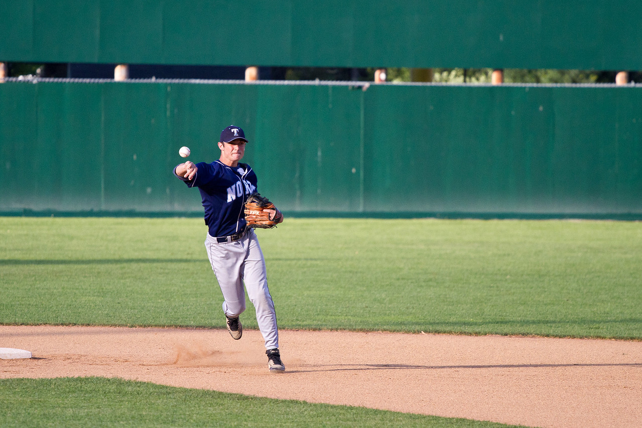BK Fires to First During Infield Warm Ups Before the Manchester Central Playoff Game