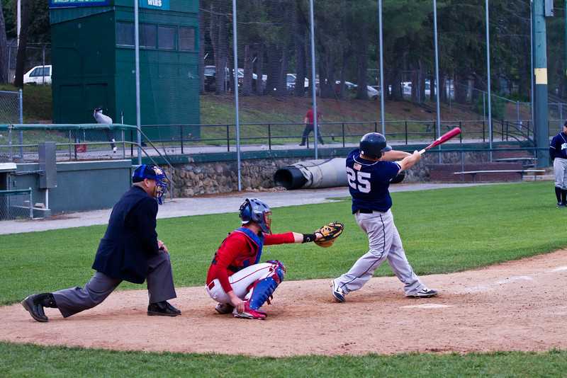 Adam Leith Drives a Double to the Left Center Field Gap Against Trinity