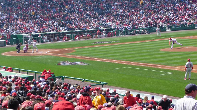 First Pitch, Philadelphia Phillies @ Washington Nationals, April 13, 2009. Pitcher: Daniel Cabrera. Batter: Jimmy Rollins. Location: Nationals Park, Washington DC.