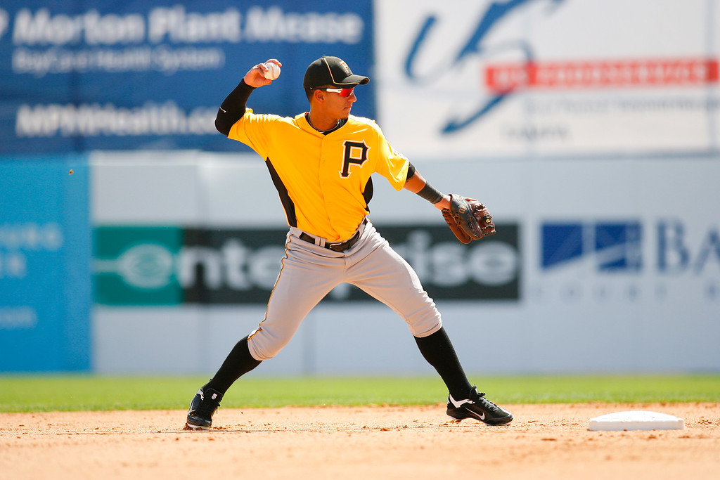Pittsburgh Pirates shortstop Ronny Cedeno (5) throws to first to for the force out during a Grapefruit League Spring Training Game at the Florida Auto Exchange Stadium.