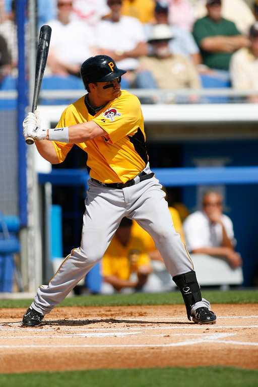 Pittsburgh Pirates first baseman Steve Pearce (51) at bat during a Grapefruit League Spring Training Game at the Florida Auto Exchange Stadium.