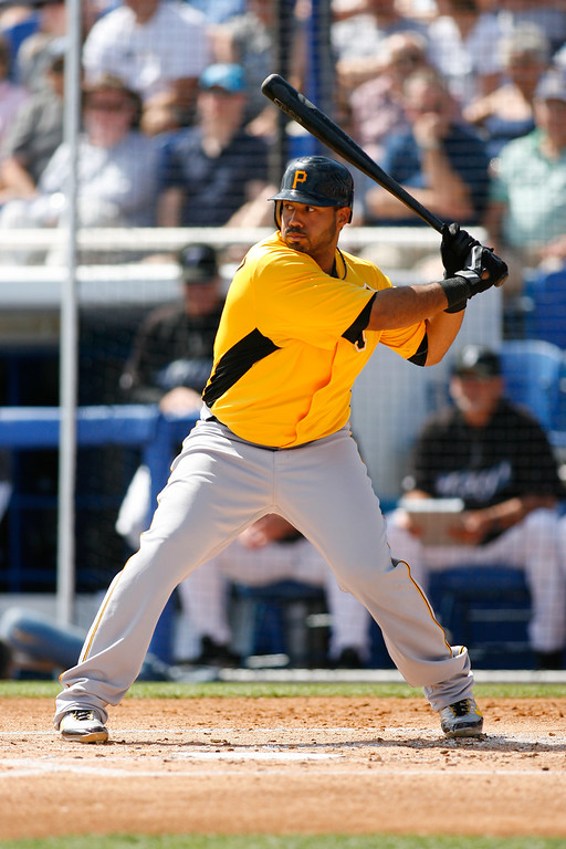 Pittsburgh Pirates third baseman Pedro Alvarez (24) at bat during a Grapefruit League Spring Training Game at the Florida Auto Exchange Stadium.