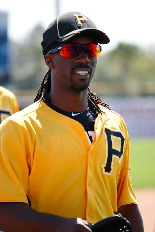 Pittsburgh Pirates center fielder Andrew McCutchen (22) prior to a Grapefruit League Spring Training Game at the Florida Auto Exchange Stadium.