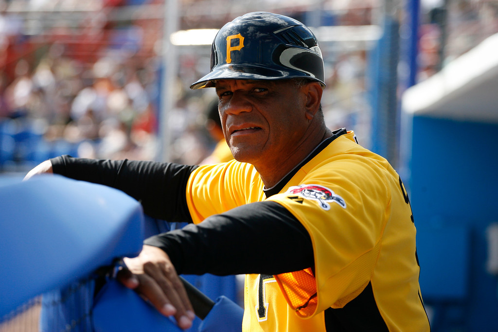 Pittsburgh Pirates first base coach Luis Silverio (15) during a Grapefruit League Spring Training Game at the Florida Auto Exchange Stadium.