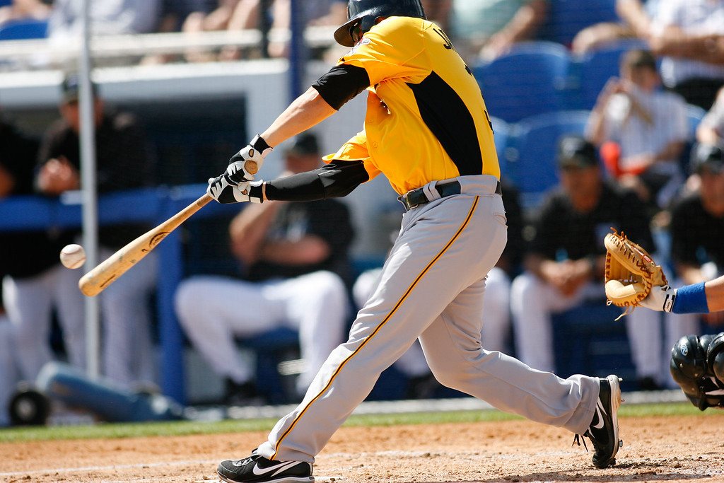 Pittsburgh Pirates catcher Jason Jaramillo (35) at bat during a Grapefruit League Spring Training Game at the Florida Auto Exchange Stadium.