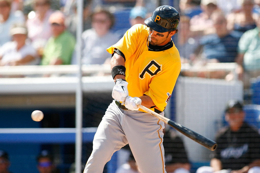 Pittsburgh Pirates first baseman Garrett Jones (46) at bat during a Grapefruit League Spring Training Game at the Florida Auto Exchange Stadium.