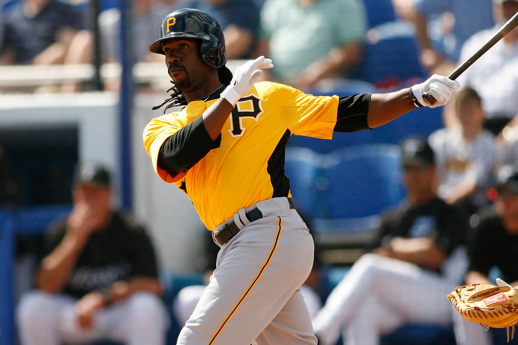 Pittsburgh Pirates center fielder Andrew McCutchen (22) at bat during a Grapefruit League Spring Training Game at the Florida Auto Exchange Stadium.
