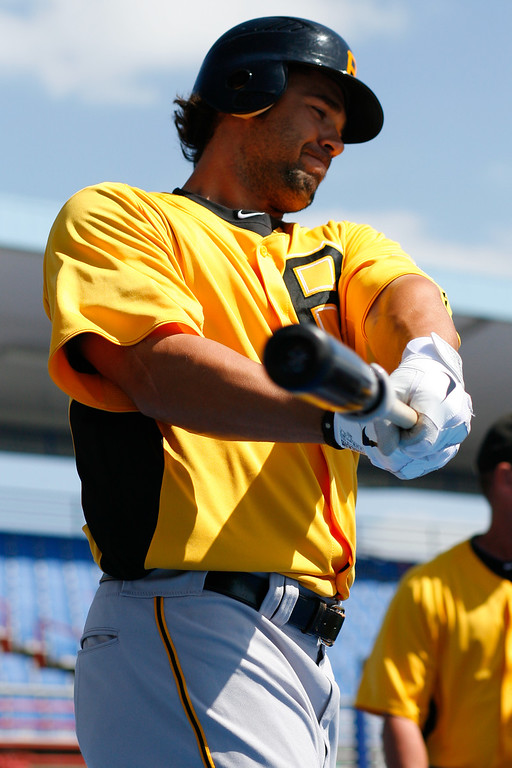 Pittsburgh Pirates first baseman Garrett Jones (46) warms up prior to a Grapefruit League Spring Training Game at the Florida Auto Exchange Stadium.