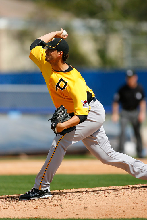Pittsburgh Pirates starting pitcher Charlie Morton (50) throws a pitch during a Grapefruit League Spring Training Game at the Florida Auto Exchange Stadium.