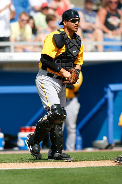 Pittsburgh Pirates catcher Jason Jaramillo (35) during a Grapefruit League Spring Training Game at the Florida Auto Exchange Stadium.