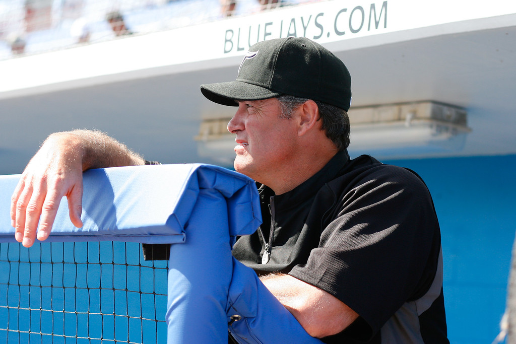 Toronto Blue Jays bench coach Don Wakamatsu (22) prior to a Grapefruit League Spring Training Game at the Florida Auto Exchange Stadium.