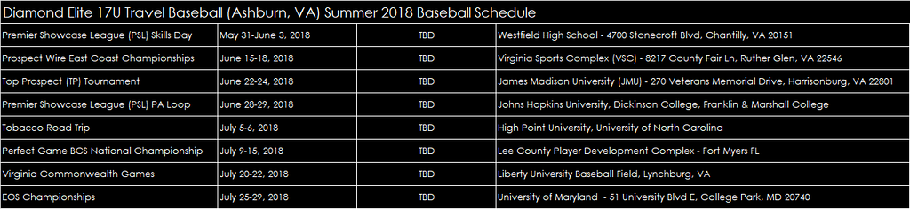 2018 Summer Schedule for DE and Showcase Teams