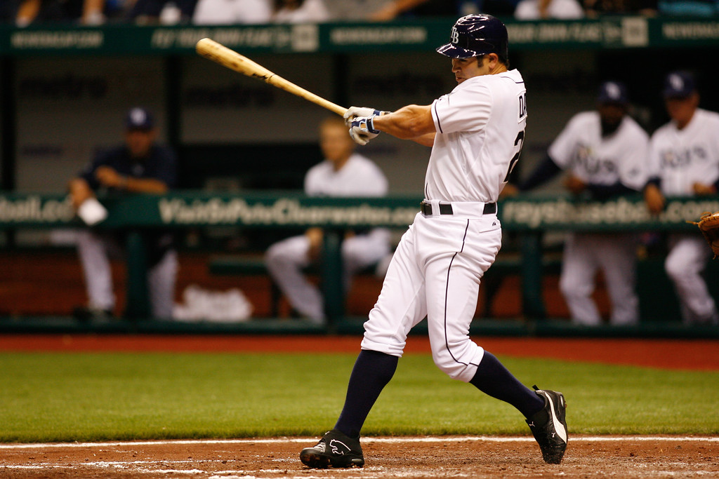 Tampa Bay Rays left fielder Johnny Damon (22) at bat during the game at Tropicana Field.
