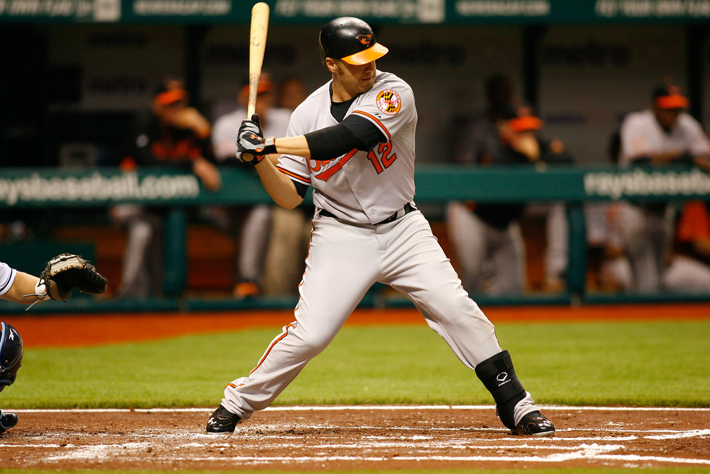 Baltimore Orioles third baseman Mark Reynolds (12) at bat during the game at Tropicana Field.