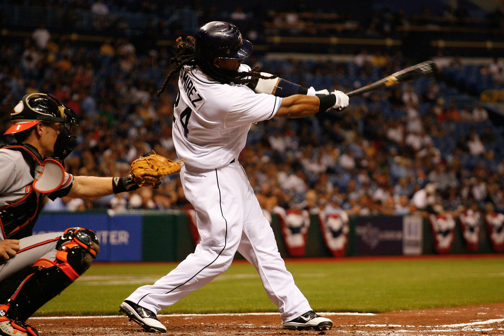 Tampa Bay Rays left fielder Manny Ramirez (24) at bat during the game at Tropicana Field.