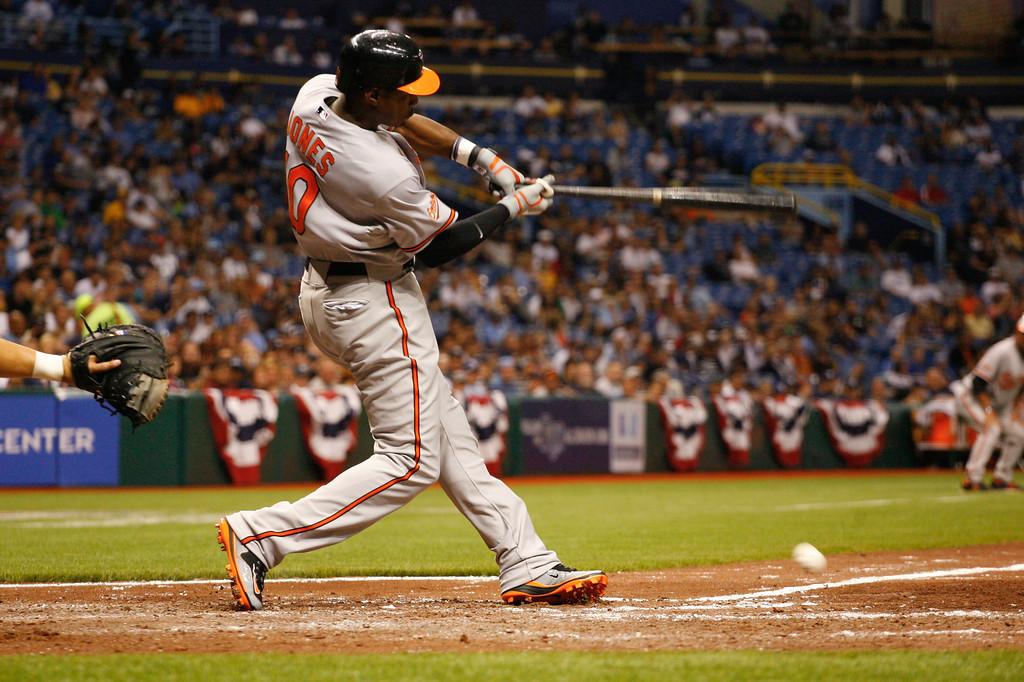 Baltimore Orioles center fielder Adam Jones (10) at bat during the game at Tropicana Field.