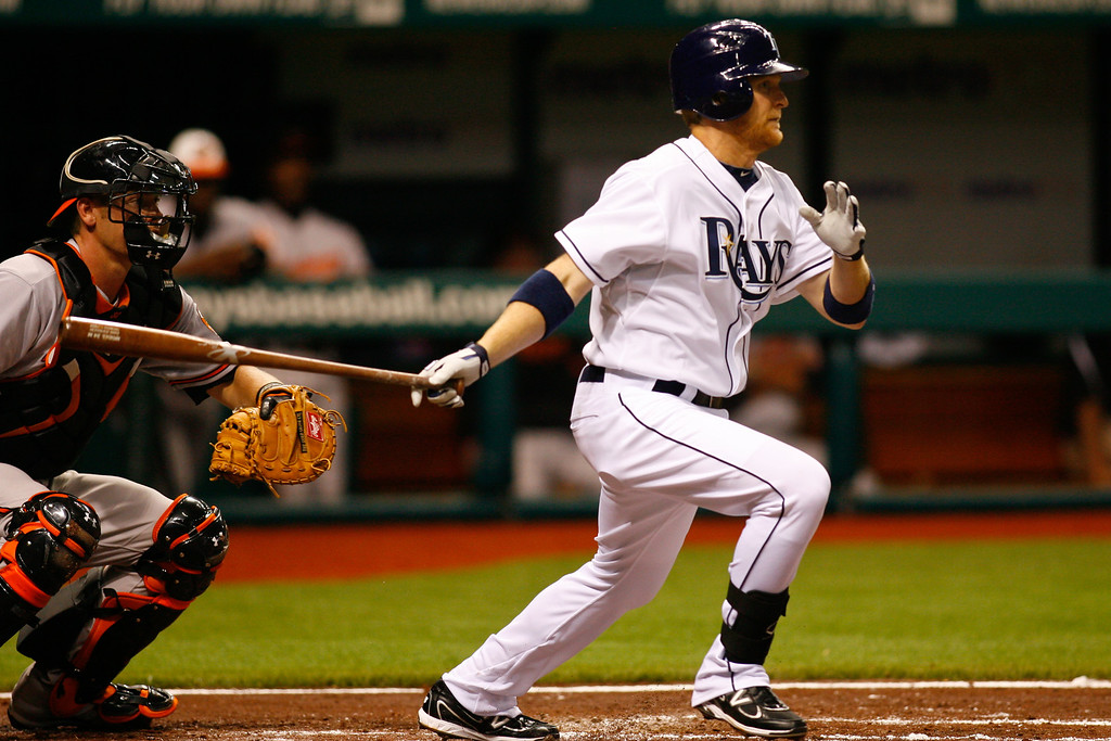 Tampa Bay Rays first baseman Dan Johnson (29) at bat during the game at Tropicana Field.