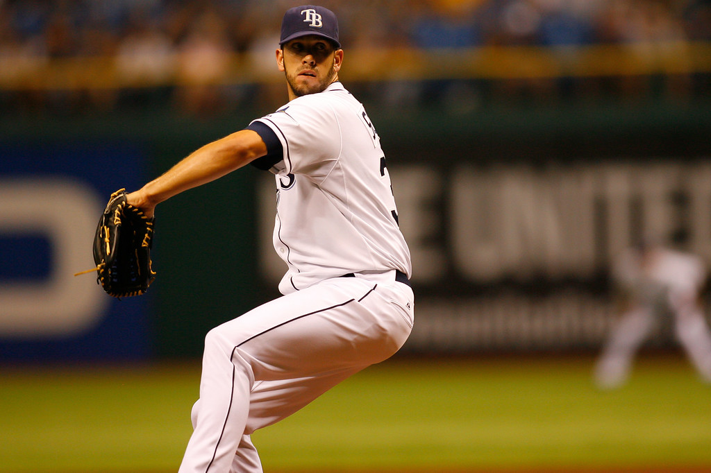 Tampa Bay Rays starting pitcher James Shields (33) winds up for a pitch during the game at Tropicana Field.