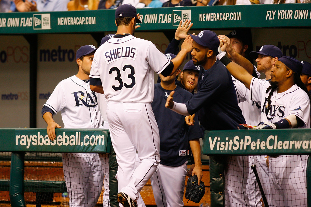 Tampa Bay Rays starting pitcher James Shields (33) heads to the dugout during the game at Tropicana Field.