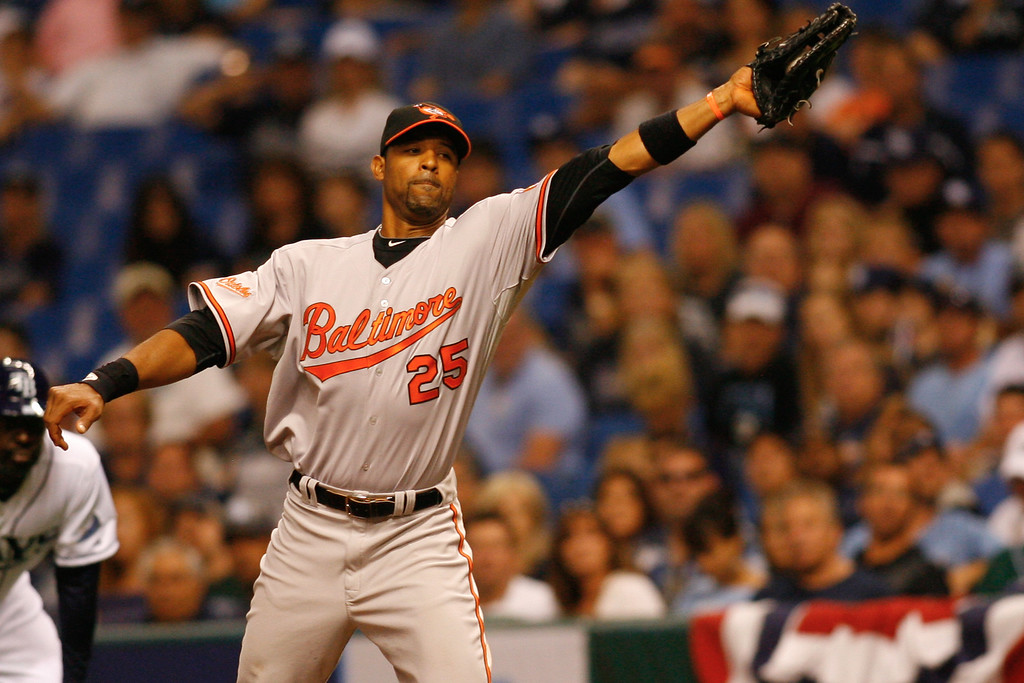 Baltimore Orioles first baseman Derrek Lee (25) makes the play at first during the game at Tropicana Field.