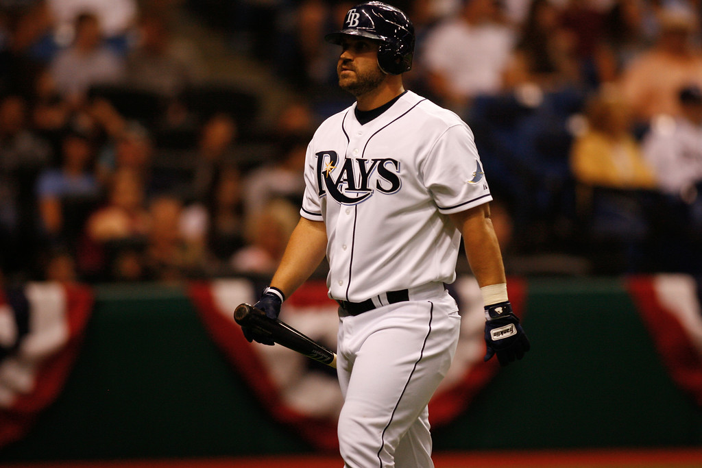 Tampa Bay Rays catcher Kelly Shoppach (10) heads back to the dugout after striking out during the game at Tropicana Field.
