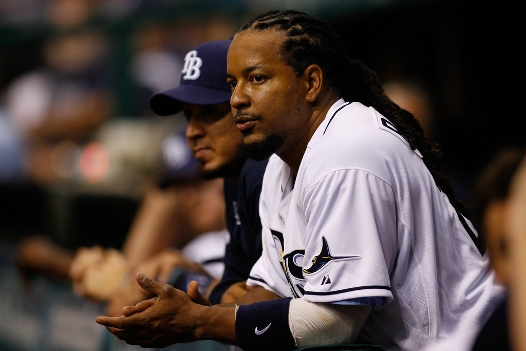 Tampa Bay Rays left fielder Manny Ramirez (24) during the game at Tropicana Field.