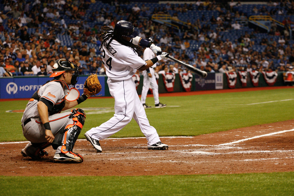 Tampa Bay Rays left fielder Manny Ramirez (24) makes his first career hit as a Tampa Bay Ray during the game at Tropicana Field.