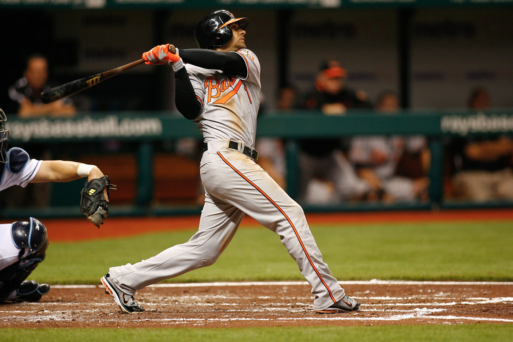 Baltimore Orioles second baseman Brian Roberts (1) at bat during the game at Tropicana Field.