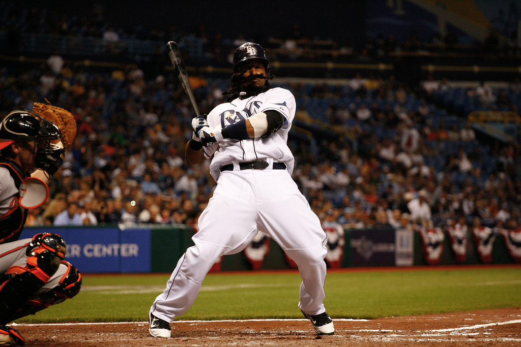 Tampa Bay Rays left fielder Manny Ramirez (24) dodges a pitch inside while at bat during the game at Tropicana Field.