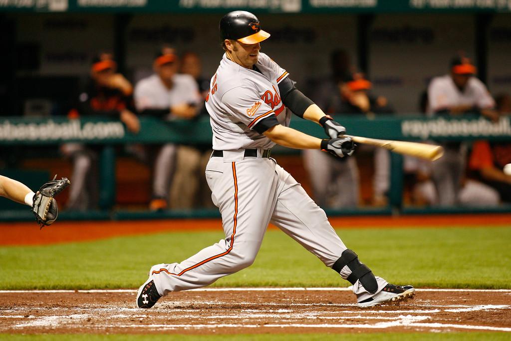 Baltimore Orioles third baseman Mark Reynolds (12) at bat during the game at Tropicana Field.