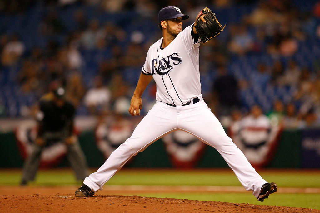 Tampa Bay Rays starting pitcher James Shields (33) wind sup for a pitch during the game at Tropicana Field.