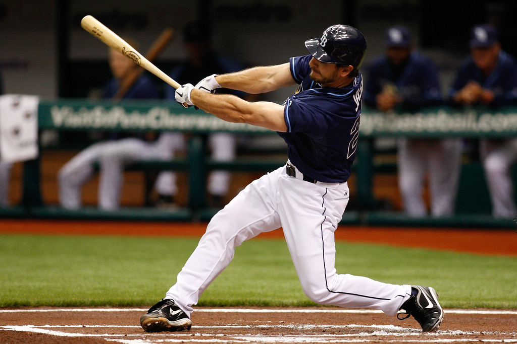 Tampa Bay Rays catcher John Jaso (28) at bat during the game at Tropicana Field.