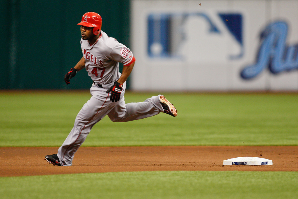 Los Angeles Angels second baseman Howard Kendrick (47) rounds second during the game at Tropicana Field.