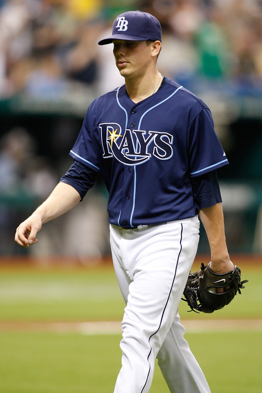 Tampa Bay Rays starting pitcher Jeremy Hellickson (58) walks of the field after being replaced during the sixth inning during the game at Tropicana Field. Hellickson threw for 10 strike outs in today's game.