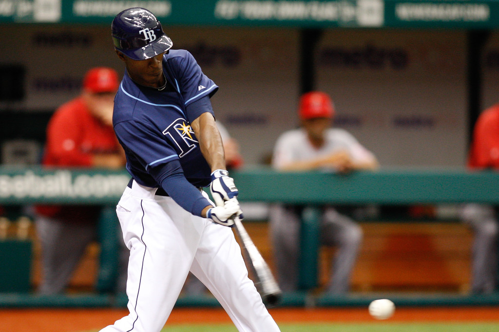 Tampa Bay Rays center fielder B.J. Upton (2) at bat during the game at Tropicana Field.