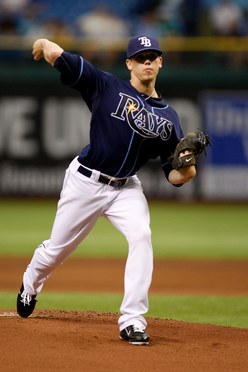 Tampa Bay Rays starting pitcher Jeremy Hellickson (58) winds up for a pitch during the game at Tropicana Field.